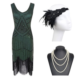 1920s Great Gatsby Flapper Dress - Black Red Sequin Fringed Flapper Dress with Roaring 20s Accessories - iiCandee