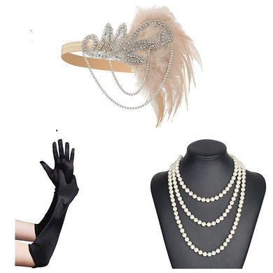 1920s Great Gatsby  Rhinestone & Feather Flapper Headband and accessories - iiCandee