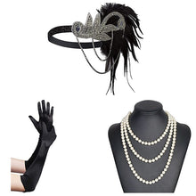Load image into Gallery viewer, 1920s Great Gatsby  Rhinestone & Feather Flapper Headband and accessories - iiCandee