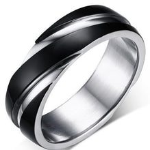 Load image into Gallery viewer, Black Simple Titanium Steel Men's wedding Band Sale at iicandee