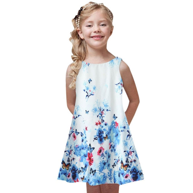 Kids Girls Butterfly Screen Print Summer Sleeveless Dress - iiCandee