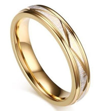 Load image into Gallery viewer, Gold Matt Finish Titanium Steel Women's Wedding Band Ring sale at iicandee