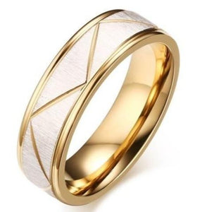 iicandee Gold Matt Finish Titanium Steel Men's Wedding Band sale