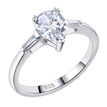 Load image into Gallery viewer,  Sterling Silver 1.8 Ct Solitaire Pear Cut Sona Diamond Engagement Ring sale at iicandee