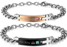 Load image into Gallery viewer, Buy Her King His Queen Stainless Steel Couple Bracelets Black + Rose Gold | iicandee