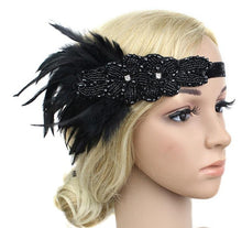 Load image into Gallery viewer, Beaded Feather Flapper Headband