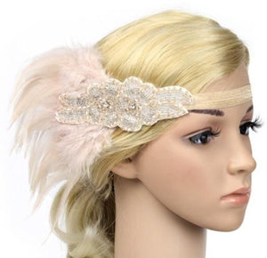 Beaded Feather Flapper Headband