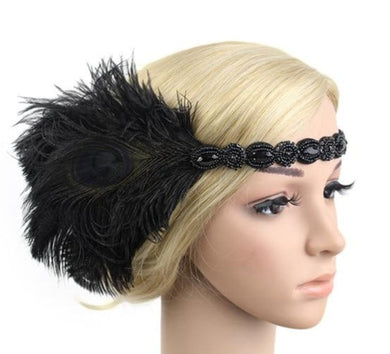 Peacock Beaded Feather Great Gatsby Headpiece