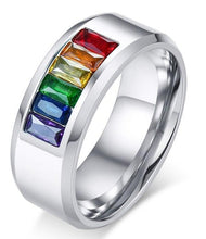 Load image into Gallery viewer, Shop for Stainless Steel Rainbow Wedding Band | iicandee