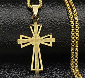 Buy Stainless Steel Cross Pendant Necklace Gold Color | iicandee