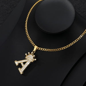 shop for Iced Out Crown Letter Pendant Necklace Stainless Steel - Initial Chain Necklace | iicandee