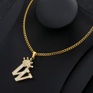 Letter Pendant Necklace Stainless Steel Iced Out Crown