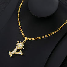 Load image into Gallery viewer, shop for Iced Out Crown Letter Pendant Necklace Stainless Steel - Initial Chain Necklace | iicandee