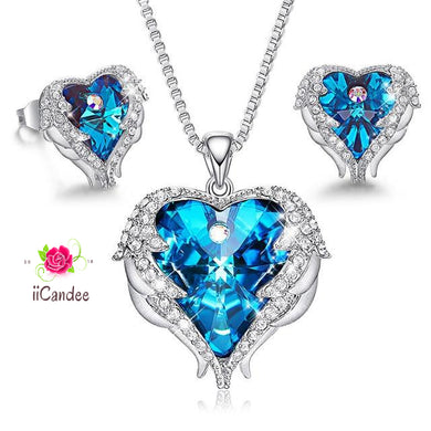 Heart and wings necklace Earrings Jewelry set with Swarovski Crystals-Blue