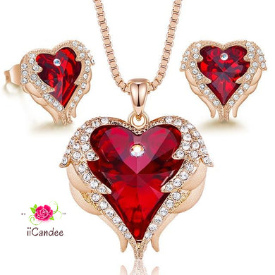 Heart and wings necklace Earrings Jewelry set with Swarovski Crystals-Red & Gold