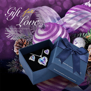 Heart and wings necklace Earrings Jewelry set with Swarovski Crystals-Purple