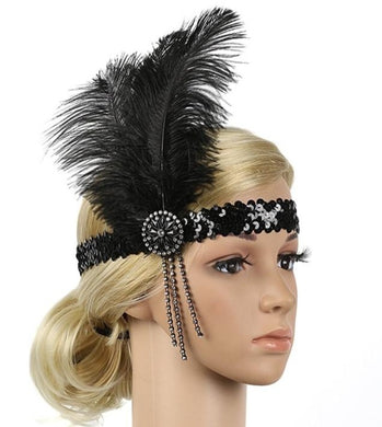 1920s Black Crystal Feather Flapper Headband Great Gatsby Headpiece