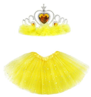 Infant Baby Girls Yellow Tulle Tutu Skirts + Crown Headband