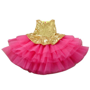 Kids Girls Hot Pink Shimmer Gold Sequins Ruffles Dress