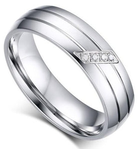 iicandee Silver Tone Titanium Steel Women's Wedding Band sale