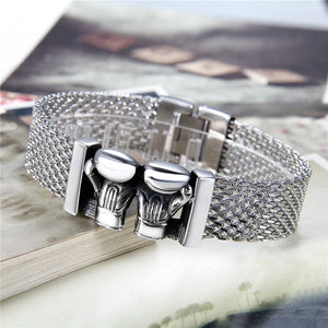 Buy Stainless Steel Boxing Boxer Gloves Men's Bracelet on sale at iicandee.com