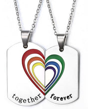 Load image into Gallery viewer, Together Forever Rainbow Couple Necklace Stainless Steel | iicandee