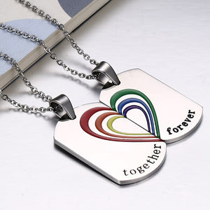 Together Forever Rainbow Couple Necklace Stainless Steel | iicandee