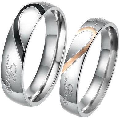 Buy Two Tone Heart Titanium Steel Couple Wedding Rings online. iicandee offers premium quality jewelry at an affordable price. Buy titanium rings for couples, titanium couples wedding bands, titanium wedding bands for couples, couples titanium rings, titanium his and hers wedding bands, titanium couple rings, titanium couple ring✅