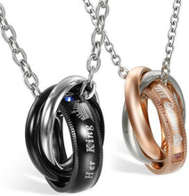 Load image into Gallery viewer, Buy Her King & His Queen Couple Stainless Steel Necklace Rings on sale at iiCandee.com