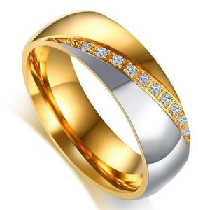 Gold Finish Stainless Steel Women's Wedding Band ring sale at iicandee