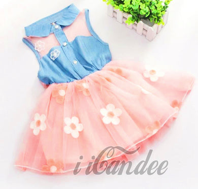 Baby Toddler Girls Denim Floral Tutu Dresses-Summer Dress - iiCandee