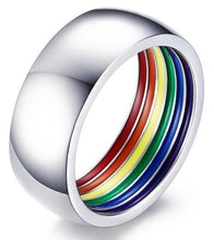 Load image into Gallery viewer, Stainless Steel Rainbow Ring - Wedding Band | iicandee
