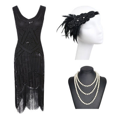 1920s Gatsby Black Sequin Flapper Dress with Roaring 20s Accessories - iiCandee