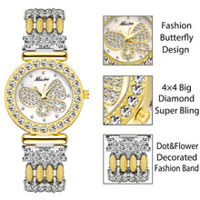 Load image into Gallery viewer, Women's Butterfly Gold Watch with Diamond Sparkle