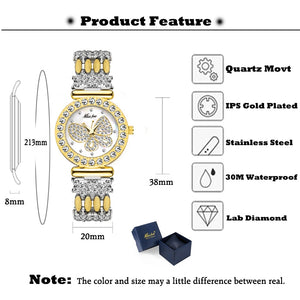 Women's Butterfly Gold Watch with Diamond Sparkle