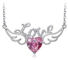 Load image into Gallery viewer, Buy Angel Wings Swarovski Crystal Heart Pendant Necklace, Angel wings jewelry, Angel wings necklace at iiCandee.com