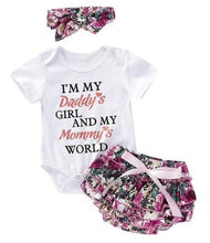 Load image into Gallery viewer, Infant Baby Girl Ruffle Romper 3PCS · Top Short Sleeve Bodysuit + Floral Tutu Skirt + Matching Headband - iiCandee