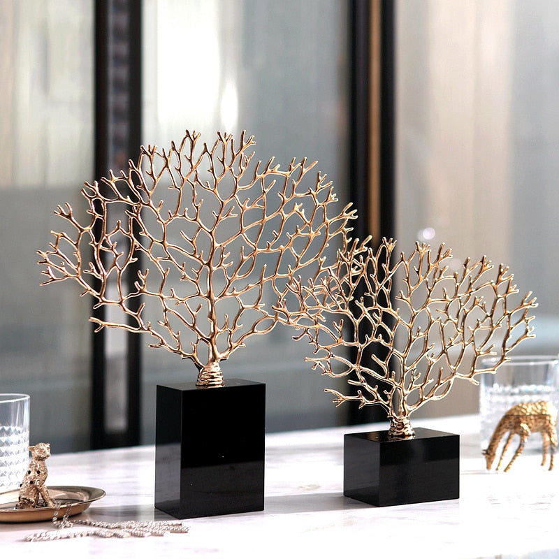 Luxurious Golden Metal Coral Sculptures