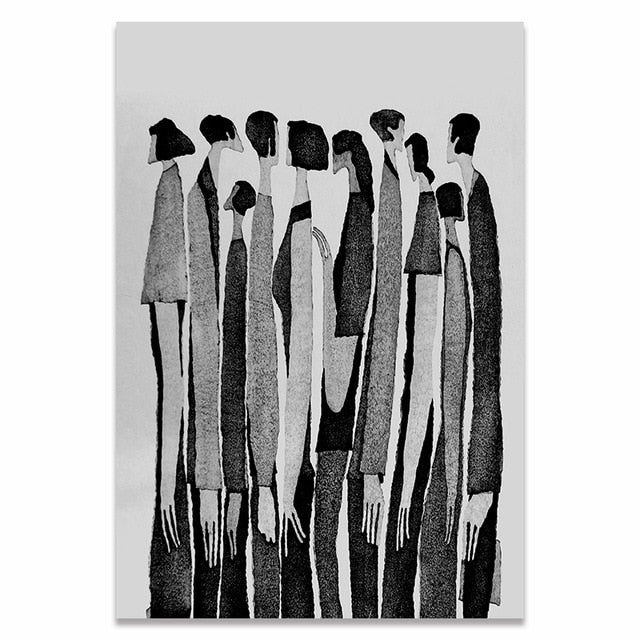 Modern Black White Abstract Characters Canvas Print Art
