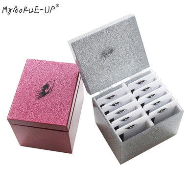 10 Layers Clear Eyelash Storage Box Eyelashes Glue Pallet Holder Makeup Organizer False Grafting Eyelashes Extension Makeup Tool