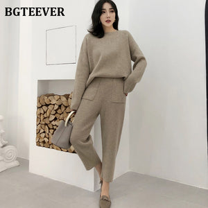 Casual Sweater Tracksuit O-neck Pullovers & High Waist Pants Women Sweater Sets Knitted Set Autumn Winter Knitted 2 Pieces Set