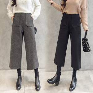 2019 winter fashion high waist women's wool wide leg pants thick warm loose loose wool pants casual harem pants office ladies