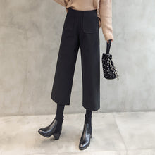 Load image into Gallery viewer, 2019 winter fashion high waist women's wool wide leg pants thick warm loose loose wool pants casual harem pants office ladies