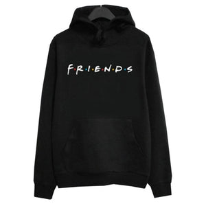 Women Friends Hoodies Harajuku Letters Print Pocket Warm Thicken Pullovers Hip Hop Loose Solid Female Sweatshirts