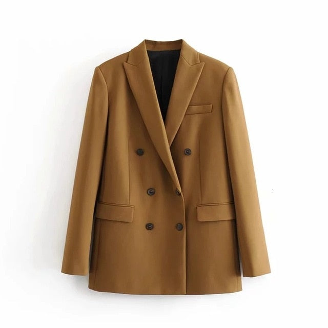 2019 Winter Women Double Breasted Blazer Coat  Office Ladt Slim Elegant Jackets