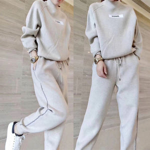 Autumn winter Woolen and Cashmere Knitted warm Suit O collar Sweater + Harem pants loose style two-piece set women knit
