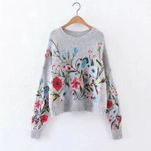 Load image into Gallery viewer, [EAM] Round Neck Long Sleeve Flower Embroidered Knitting Sweater