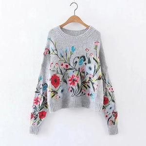 [EAM] Round Neck Long Sleeve Flower Embroidered Knitting Sweater