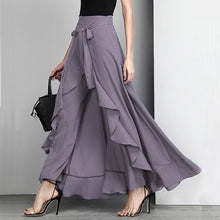Load image into Gallery viewer, Women Palazzo Pants Causal Ruffle Drawstring Trouser Elegant High Waist Irregular Loose Pure Color Autumn Female Pant Skirt