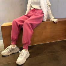 Load image into Gallery viewer, VOLAC Elastic Waist Loose Velvet Casual Sweatpants